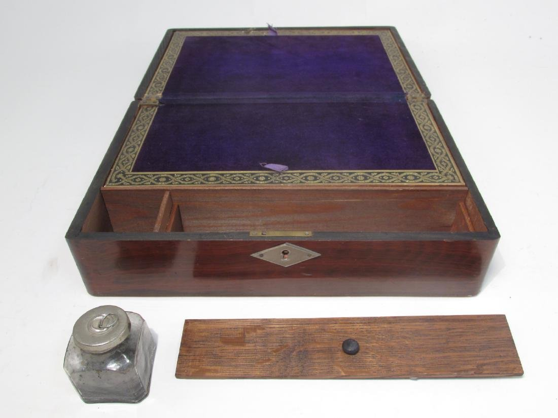 19TH C MARQUETRY INLAY WRITING BOX LAP DESK - 5