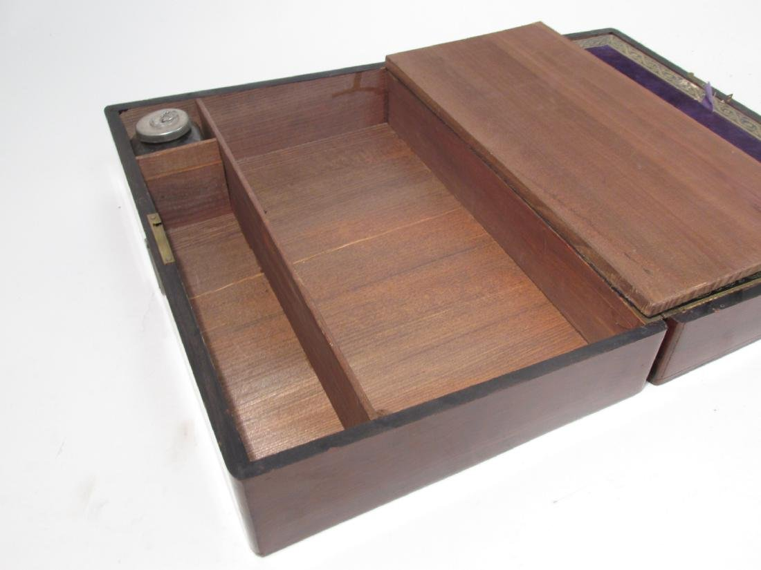 19TH C MARQUETRY INLAY WRITING BOX LAP DESK - 7