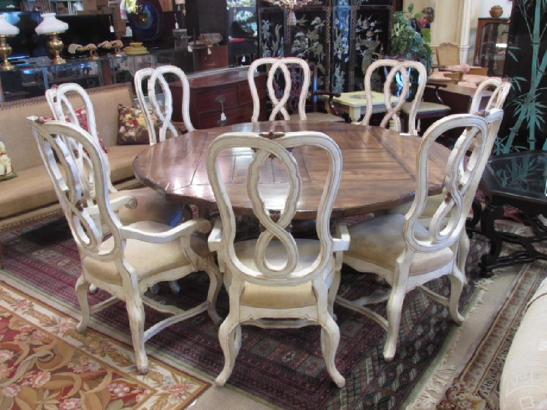 EIGHT CARVED WOOD FRENCH COUNTRY STYLE CHAIRS
