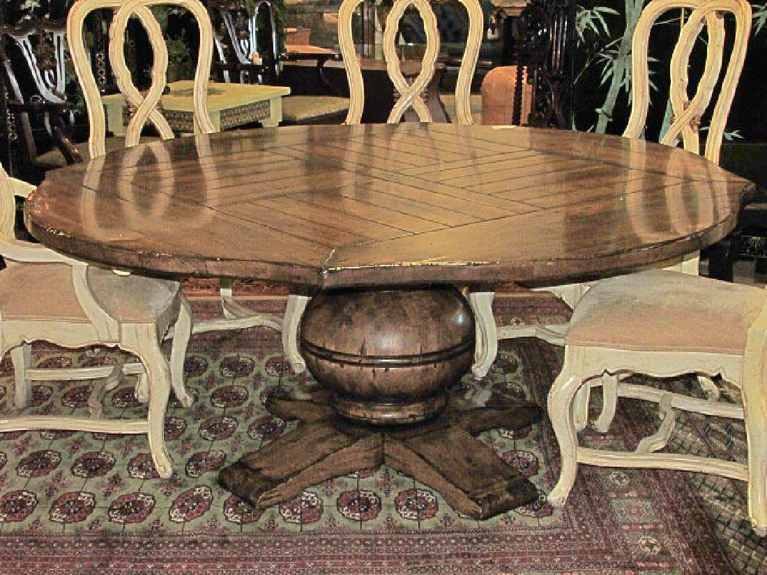 LARGE FRENCH COUNTRY STYLE PEDESTAL DINING TABLE
