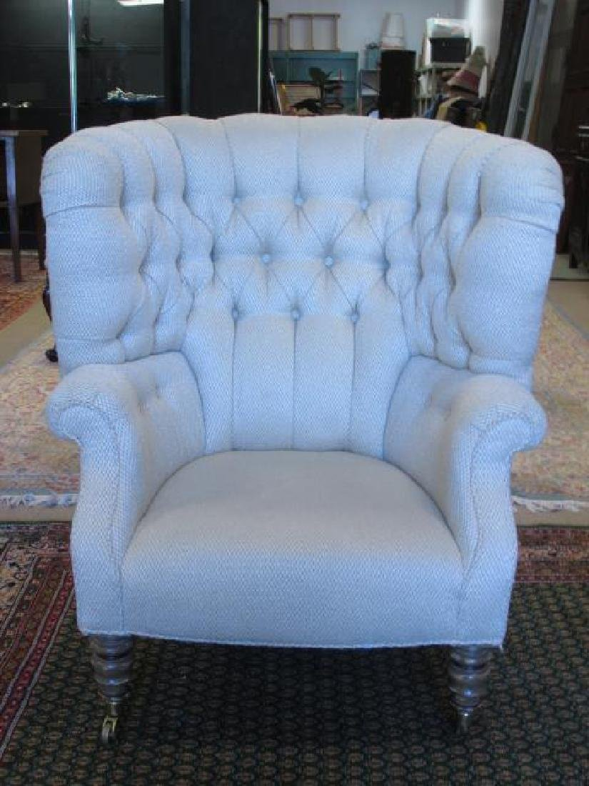 BAKER FURNITURE CREAM TONED WINGBACK CHAIR - 2