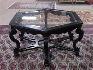 OCTAGONAL DARK CHERRY FINISH GLASS COFFEE TABLE