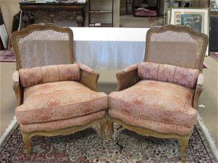 PAIR ROCOCO STYLE DOUBLE CANED ARMCHAIRS