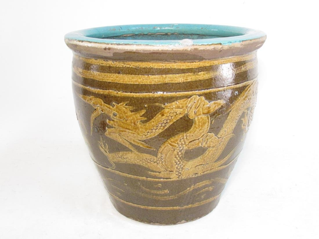 ANTIQUE CHINESE GLAZED EARTHENWARE POT