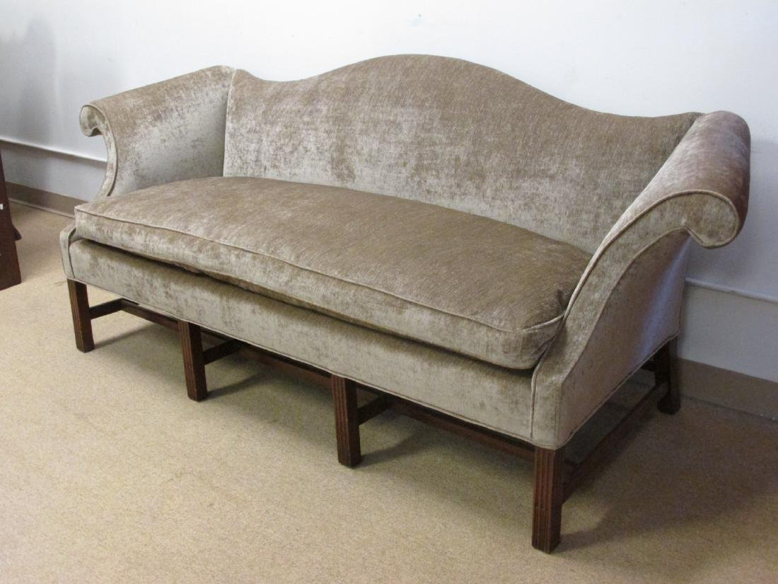 BROWN FABRIC HUMPBACK SOFA