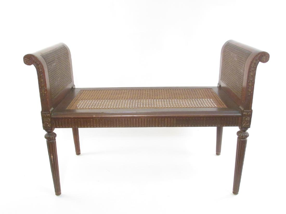VINTAGE FRENCH CARVED MAHOGANY DOUBLE CANED BENCH