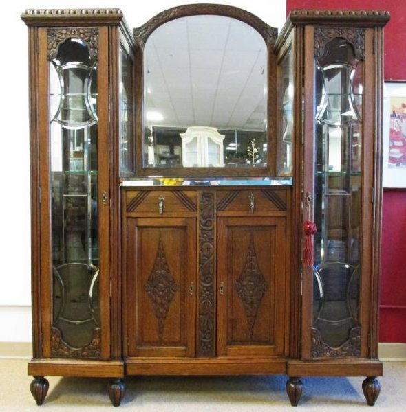 FRENCH VICTORIAN CARVED WALNUT DOUBLE CURIO BUFFET