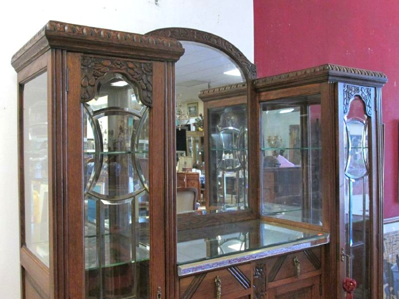FRENCH VICTORIAN CARVED WALNUT DOUBLE CURIO BUFFET - 2