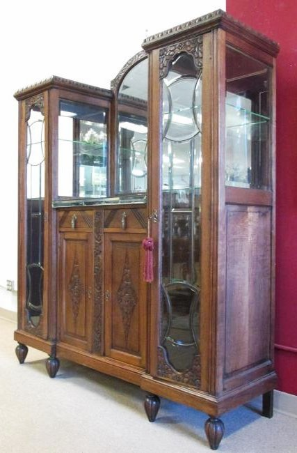 FRENCH VICTORIAN CARVED WALNUT DOUBLE CURIO BUFFET - 7