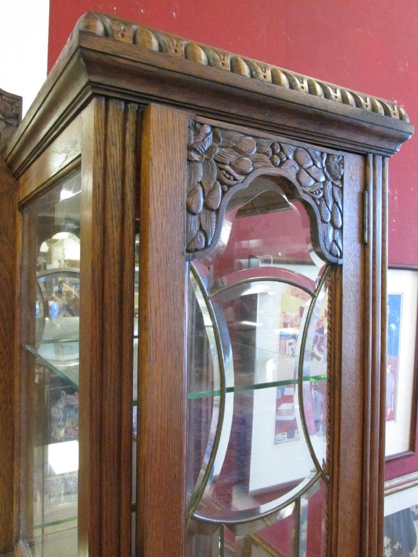 FRENCH VICTORIAN CARVED WALNUT DOUBLE CURIO BUFFET - 8