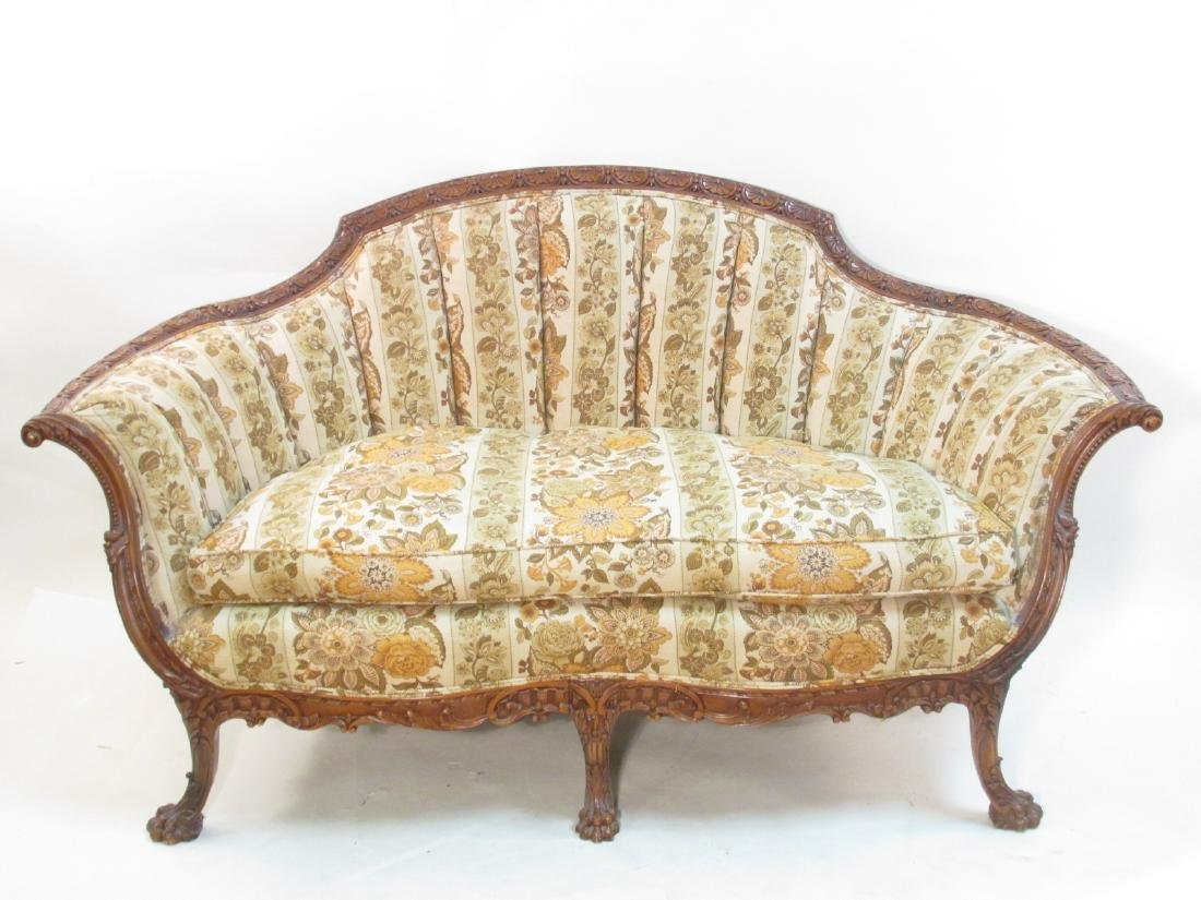 LATE 19TH C FRENCH LOUIS XV STYLE CORBEILLE SETTEE