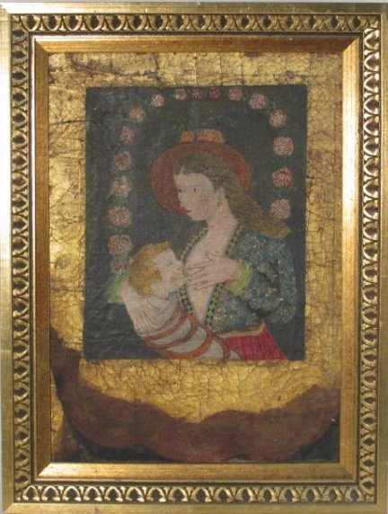 ANTIQUE FOLK ART OIL ON CANVAS PAINTING MOTHER & C