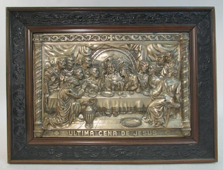VINTAGE RELIGIOUS EMBOSSED & SILVER PLATED PLAQUE