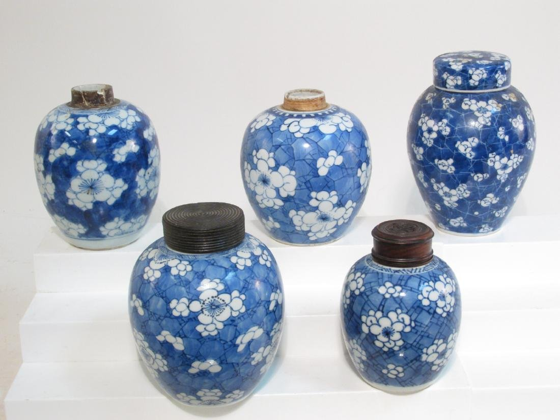 FIVE CHINESE CRACKED ICE AND PRUNUS PORCELAIN JARS
