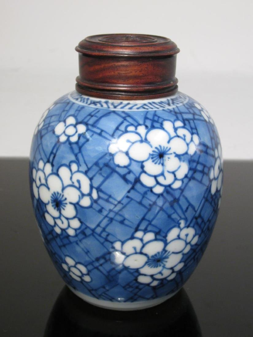 FIVE CHINESE CRACKED ICE AND PRUNUS PORCELAIN JARS - 6
