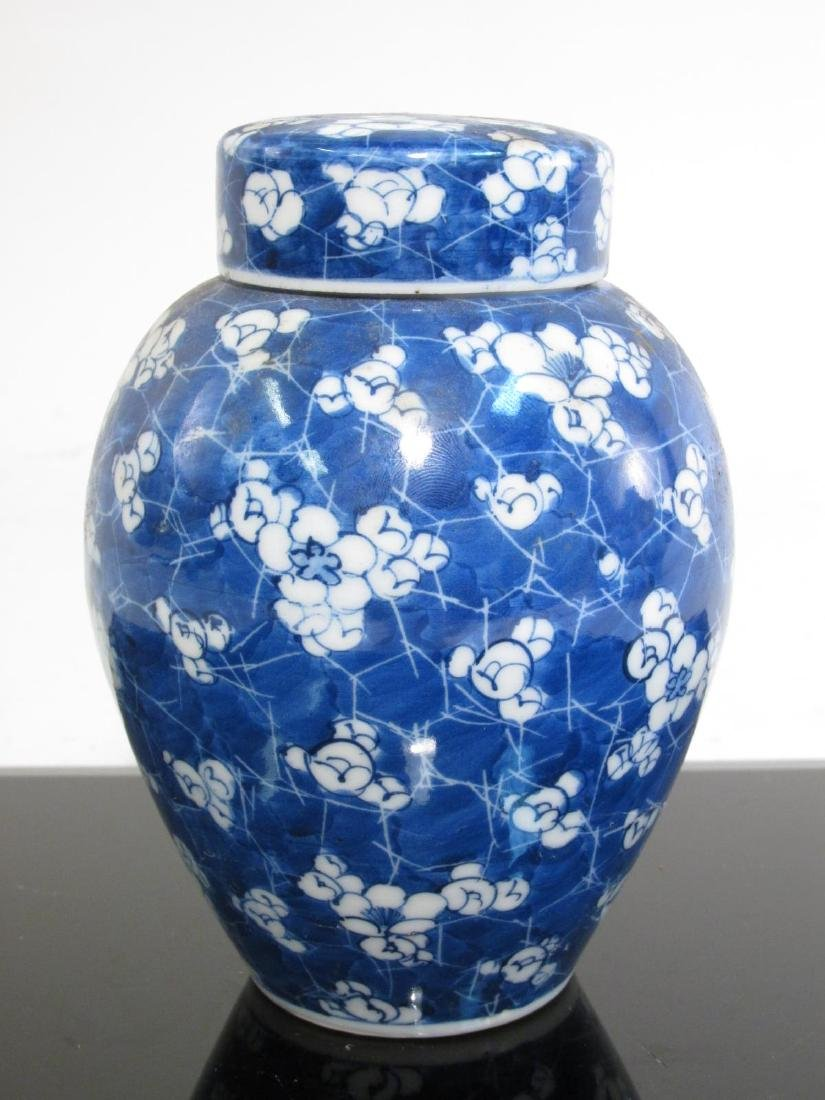 FIVE CHINESE CRACKED ICE AND PRUNUS PORCELAIN JARS - 8