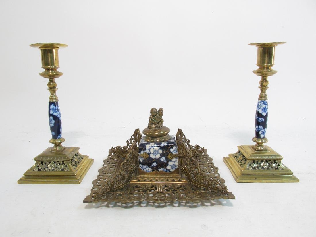 ANTIQUE CHINESE PORCELAIN MOUNTED BRONZE DESK SET