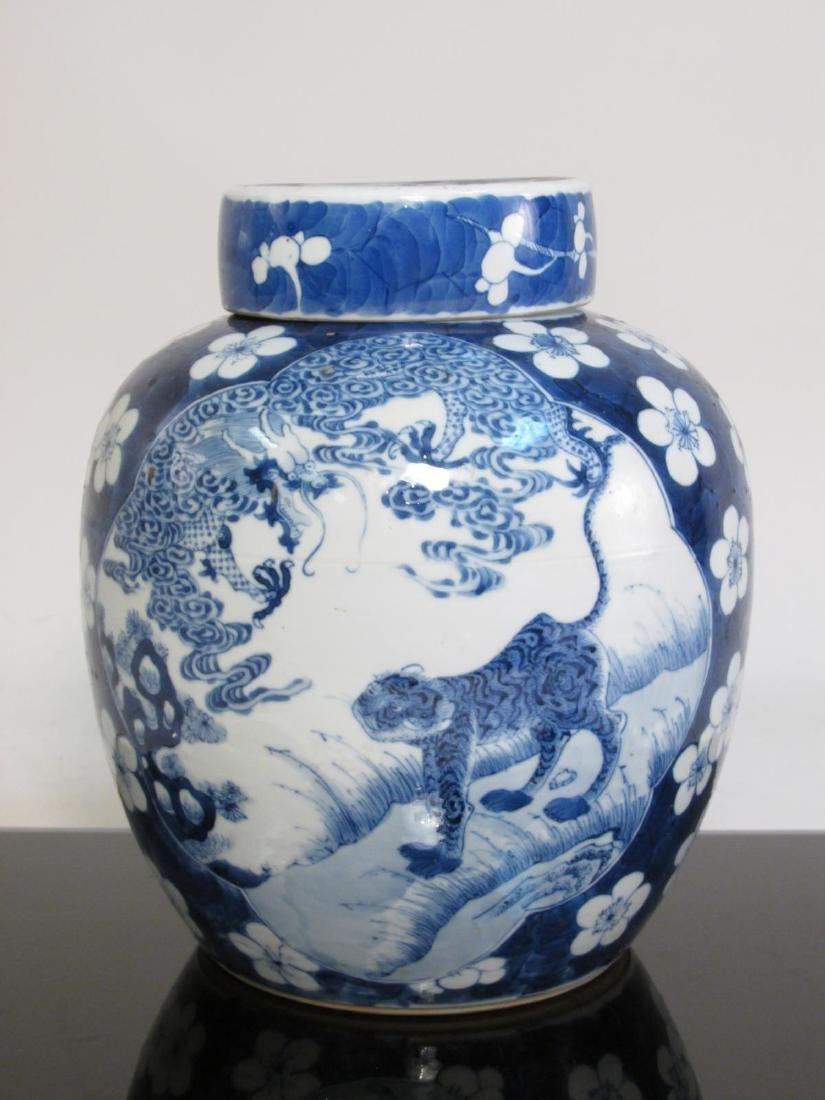 CHINESE QING DYNASTY PRUNUS & TIGER GINGER JAR