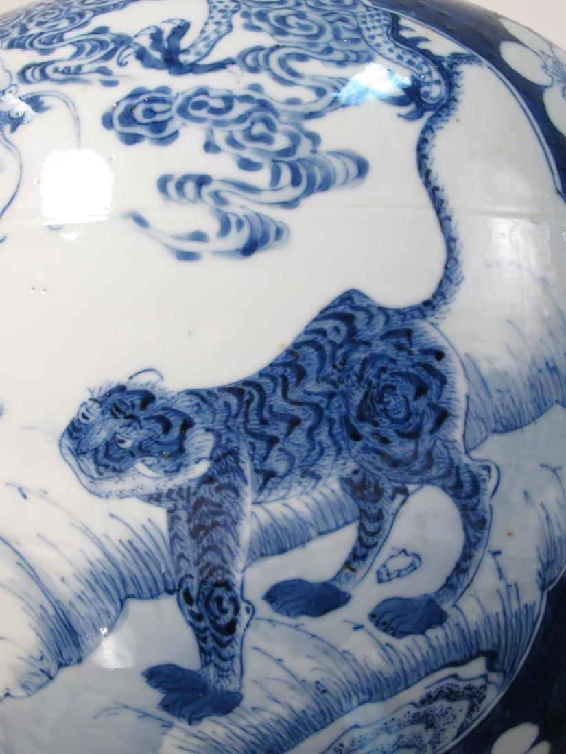 CHINESE QING DYNASTY PRUNUS & TIGER GINGER JAR - 5