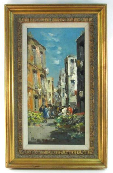 ELETTRA BRIANTE OIL ON CANVAS PAINTING STREET SCENE