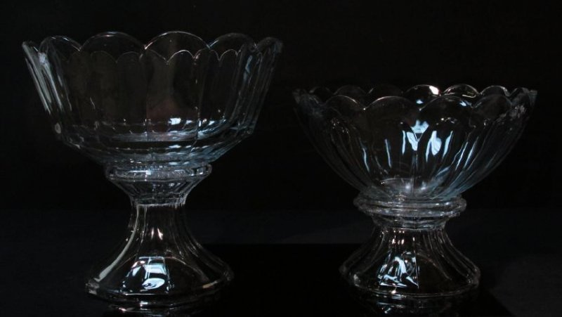 TWO LARGE HEISEY CUT GLASS PUNCHBOWLS