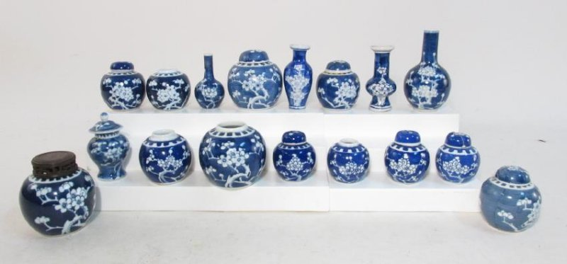 COLLECTION CHINESE PRUNUS CABINET VASES & JARS 17p
