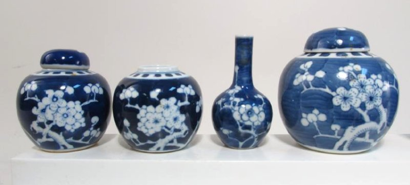 COLLECTION CHINESE PRUNUS CABINET VASES & JARS 17p - 2