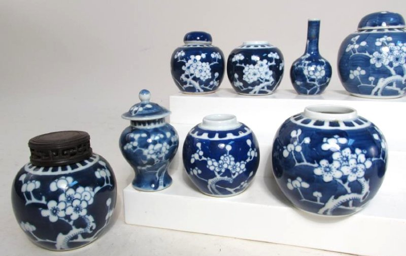 COLLECTION CHINESE PRUNUS CABINET VASES & JARS 17p - 3