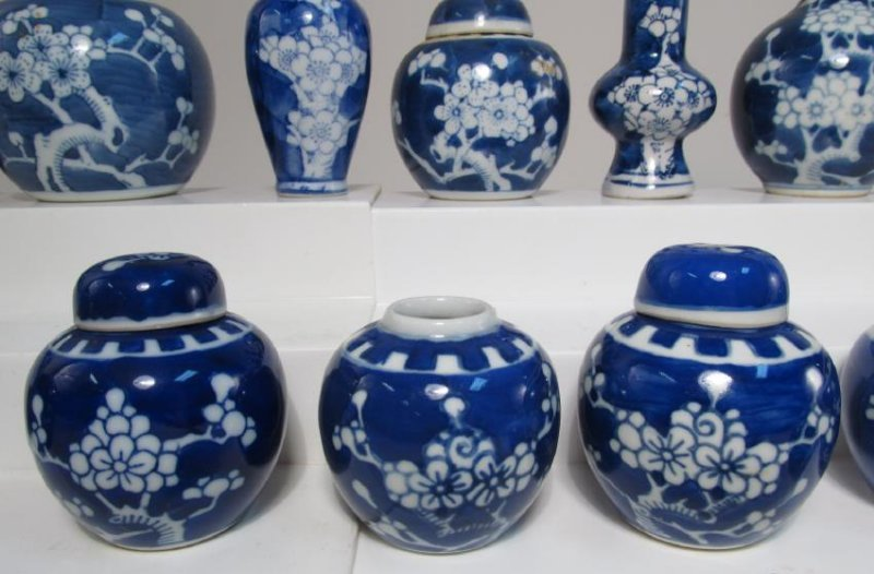 COLLECTION CHINESE PRUNUS CABINET VASES & JARS 17p - 4