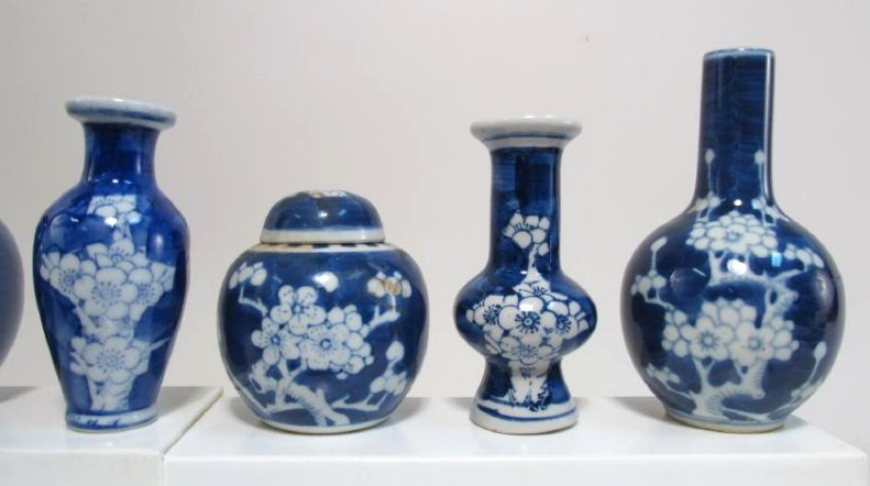 COLLECTION CHINESE PRUNUS CABINET VASES & JARS 17p - 7