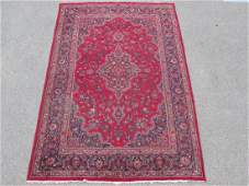 VINTAGE KASHAN PERSIAN HAND KNOTTED RUG 7' X 10'
