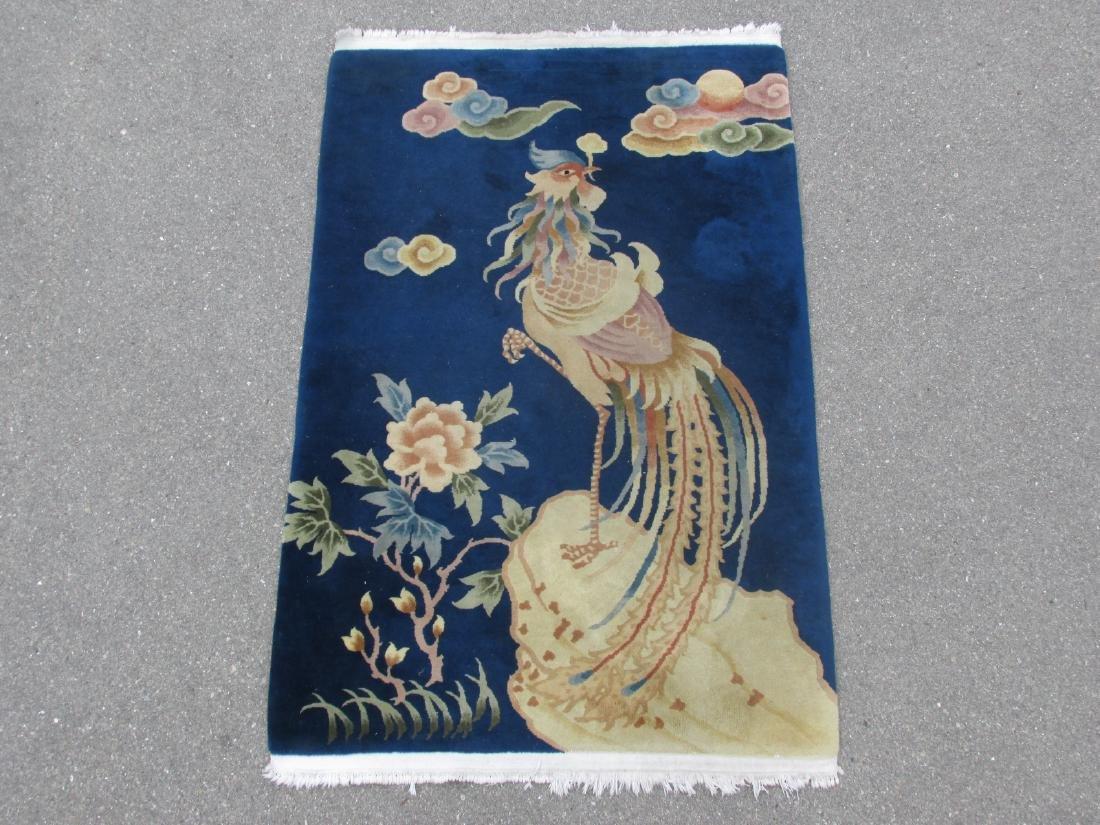 CHINESE ART DECO WOOL RUG 4' X 6'
