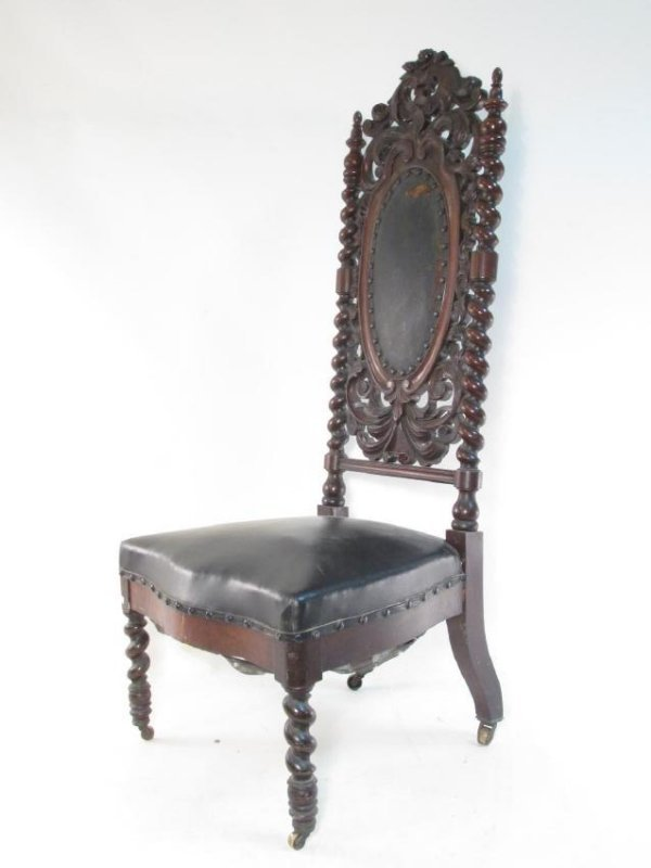 MID 19TH CENTURY CARVED WOOD PRAYER SIDE CHAIR
