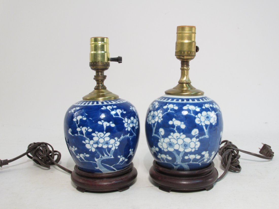 TWO CHINESE QING DYNASTY PRUNUS GINGER JAR LAMPS