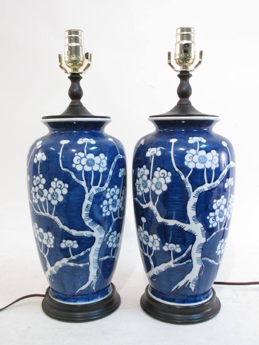 PAIR VINTAGE CHINESE PRUNUS VASES AS TABLE LAMPS