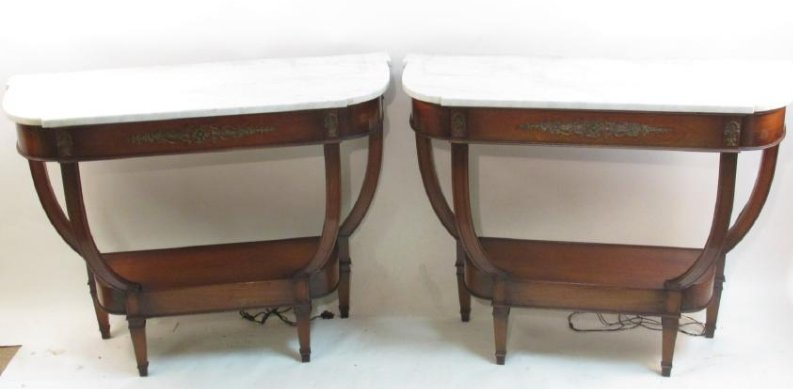 PAIR REGENCY STYLE MARBLE TOP CONSOLE TABLES
