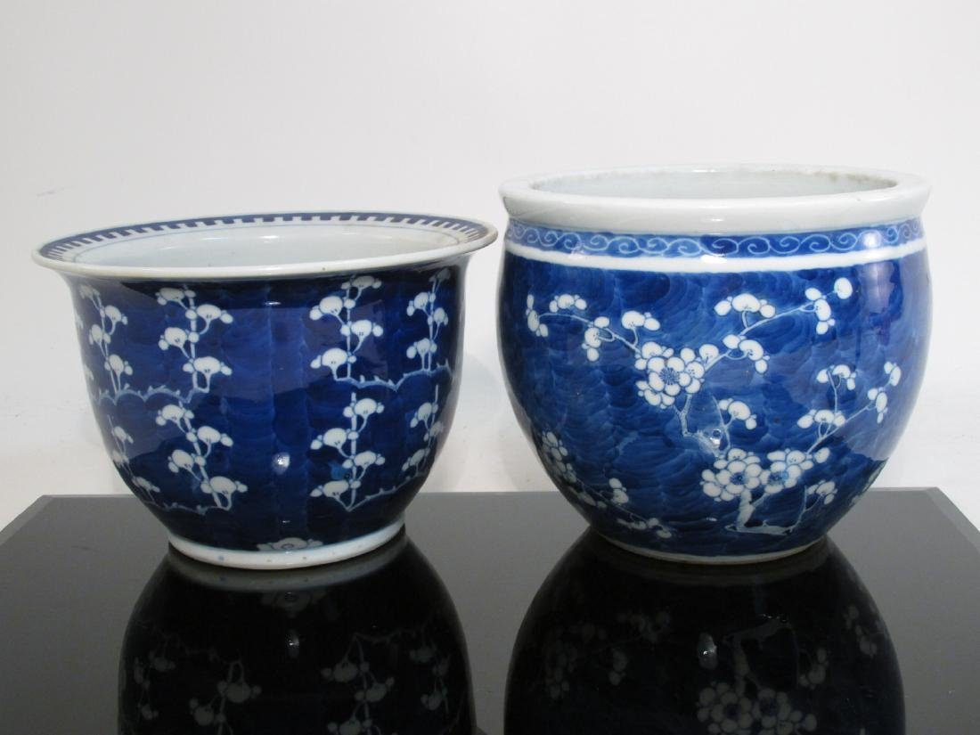 TWO CHINESE QING DYNASTY PRUNUS PLANTERS