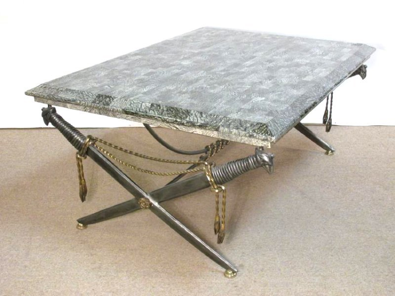 MAITLAND SMITH GREEN MARBLE TOP SWORD COFFEE TABLE