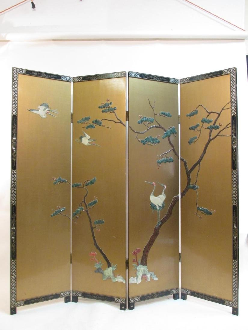 CHINESE HARDSTONE & LACQUER ROOM DIVIDER SCREEN