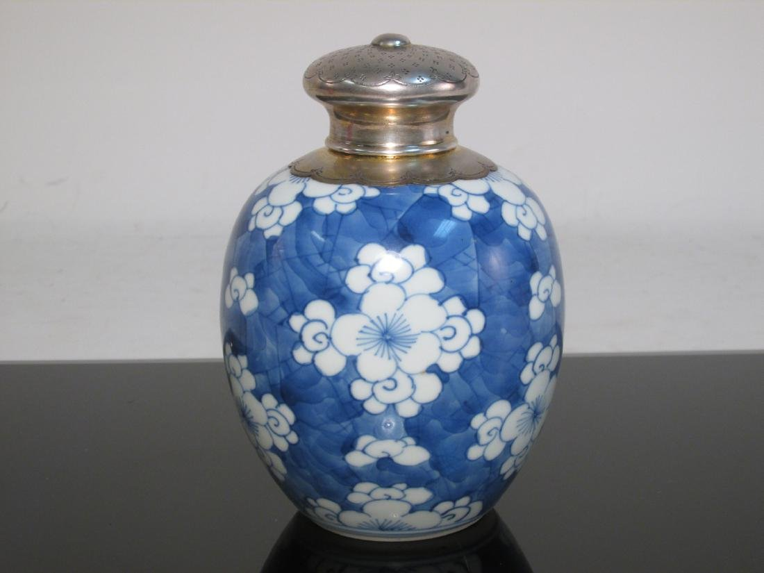CHINESE BLUE & WHITE TEA CADDY -DUTCH SILVER MOUNT