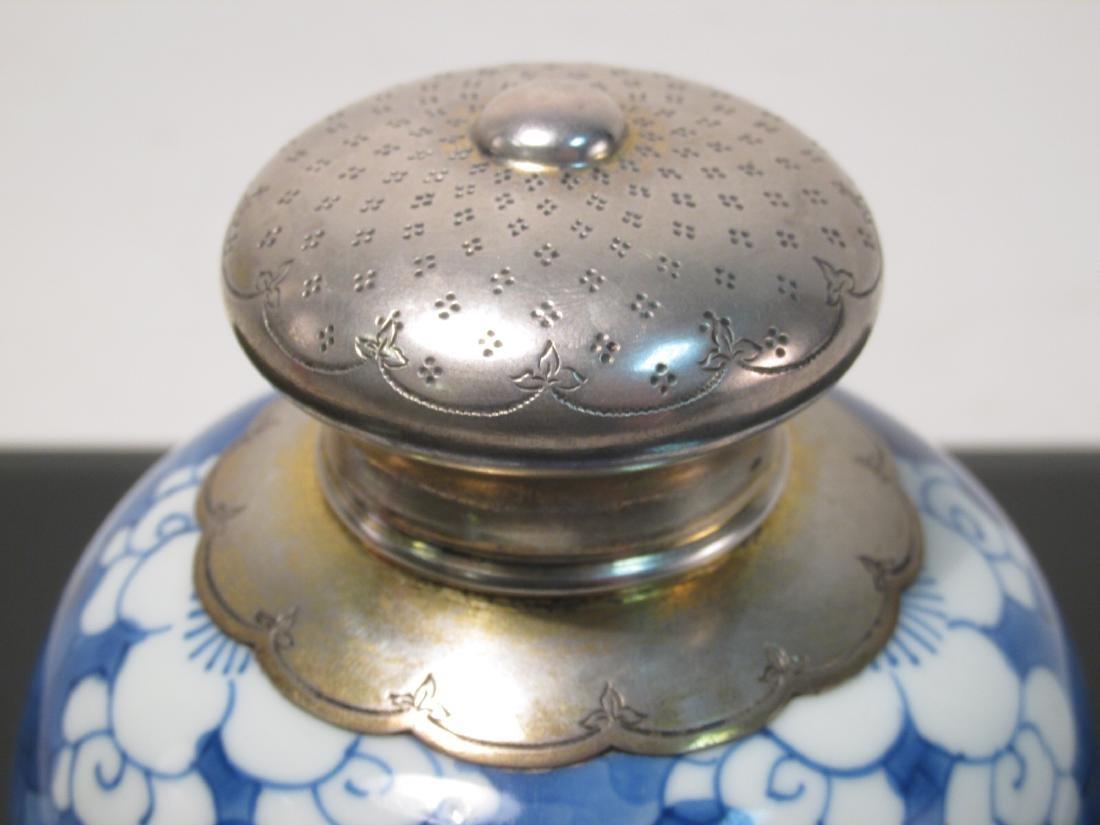 CHINESE BLUE & WHITE TEA CADDY -DUTCH SILVER MOUNT - 2