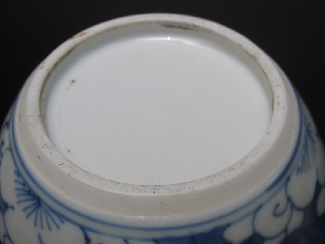 CHINESE BLUE & WHITE TEA CADDY -DUTCH SILVER MOUNT - 4