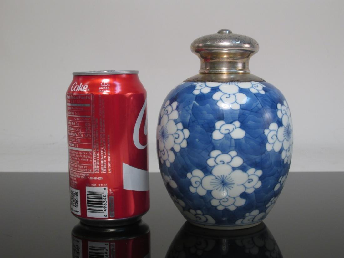 CHINESE BLUE & WHITE TEA CADDY -DUTCH SILVER MOUNT - 5