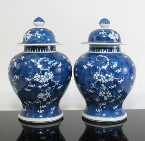 PAIR CHINESE QING DYN PORCELAIN PRUNUS GINGER JARS