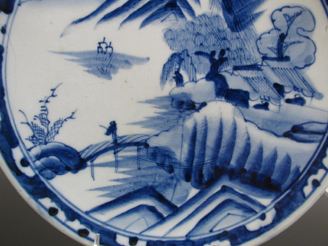 CHINESE QING DYNASTY BLUE & WHITE PORCELAIN CHARGE - 3