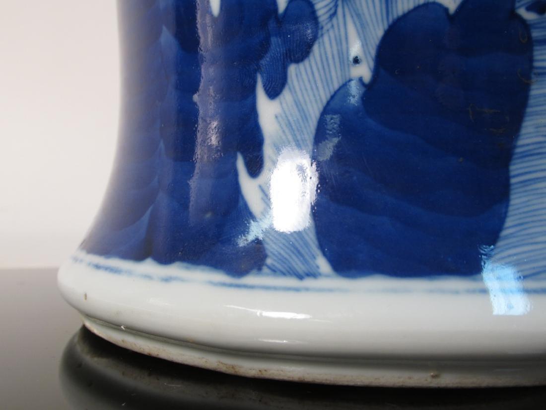 CHINESE QING DYNASTY BLUE & WHITE PRUNUS VASE - 5