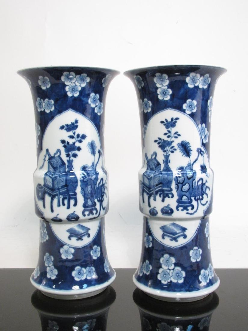 PAIR CHINESE QING DYNASTY PORCELAIN CYLINDER VASES