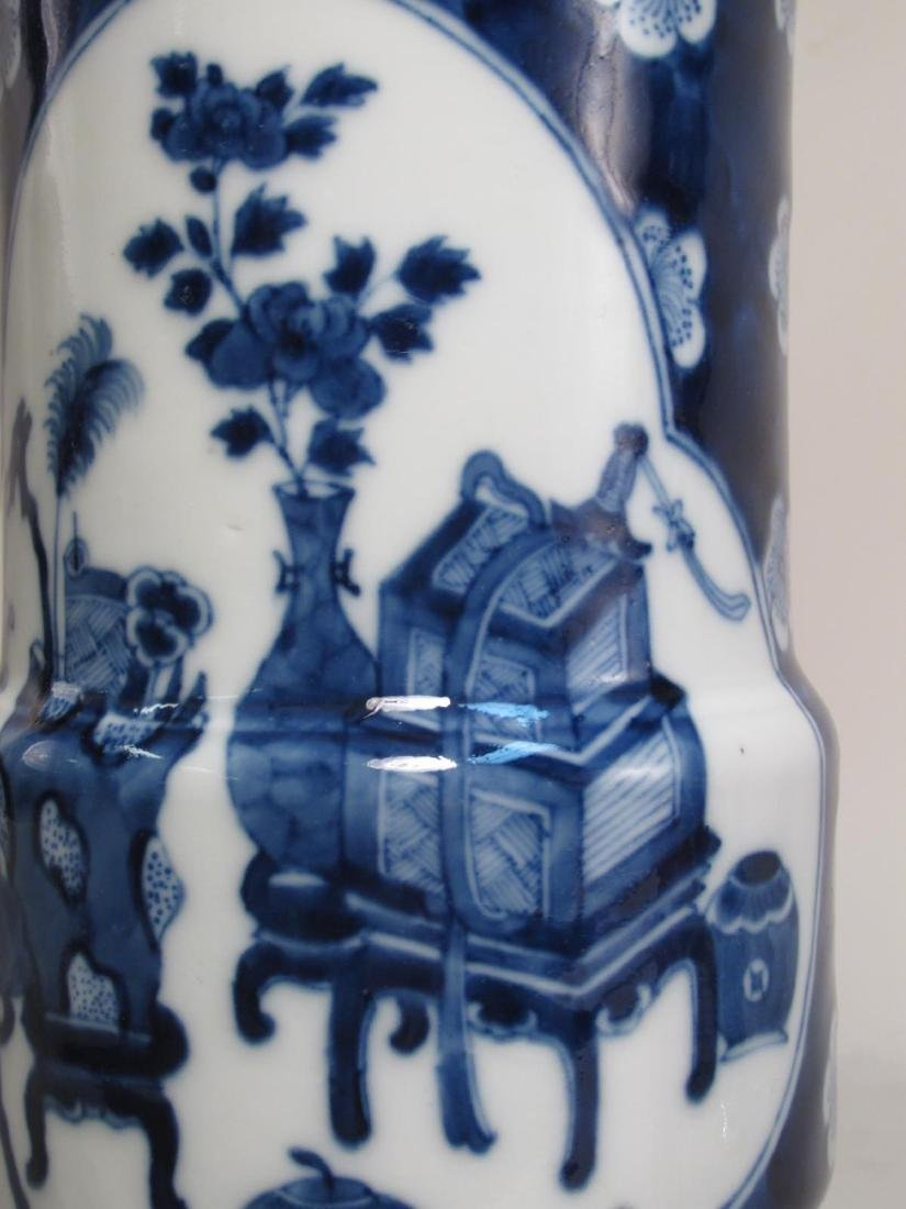 PAIR CHINESE QING DYNASTY PORCELAIN CYLINDER VASES - 3