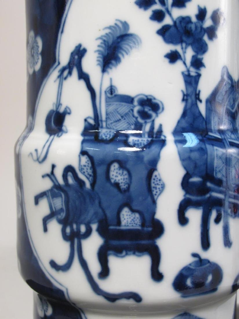 PAIR CHINESE QING DYNASTY PORCELAIN CYLINDER VASES - 4