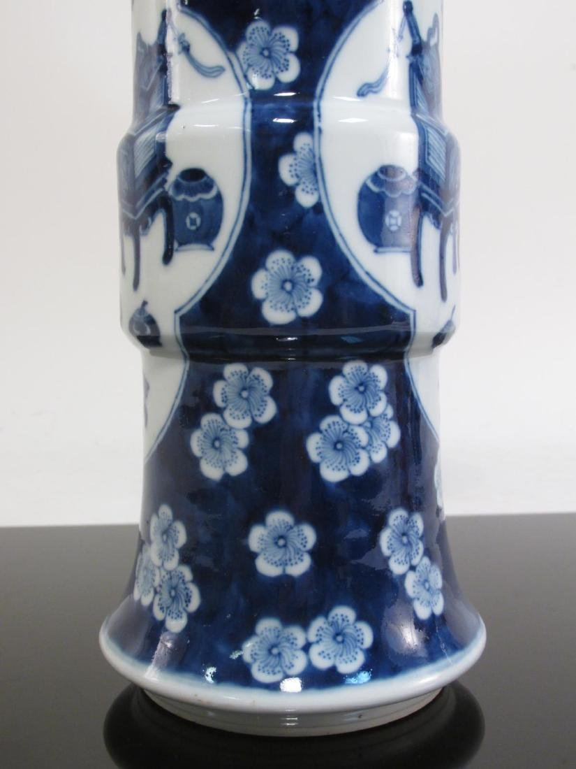 PAIR CHINESE QING DYNASTY PORCELAIN CYLINDER VASES - 6